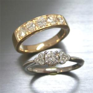 【実例290】ダイヤリングと一文字リングをミル打ちリングとゴールドハーフエタニティに