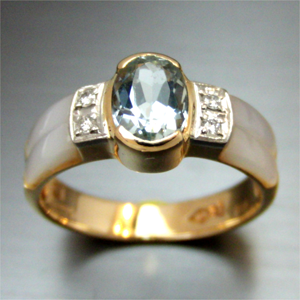 【実例151】白蝶貝のリング外れた石の石合わせ