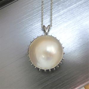 【実例216】マベ真珠のリングをペンダントにリフォーム