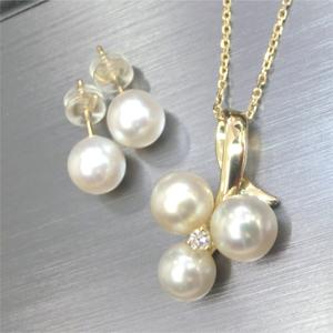 【実例48】アコヤ真珠の珠からペンダントとピアスにリフォーム