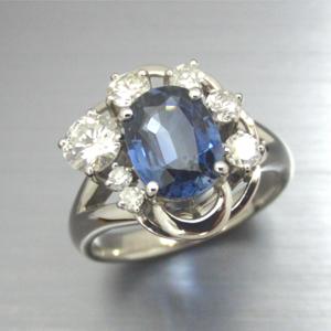 【実例25】サファイアのルースとダイヤでリングを作成